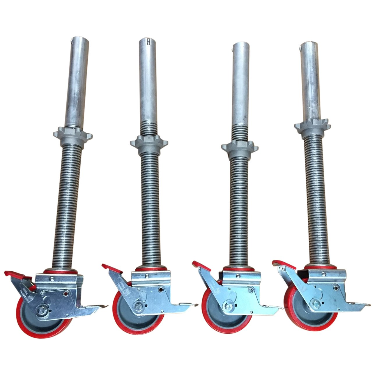 Set of 4 Adjustable Legs & Castors for Alloy Scaffold Tower Toptower