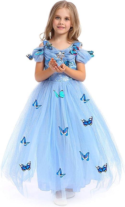 URAQT Princesa Traje del Vestido, Traje de Princesa Azul con ...