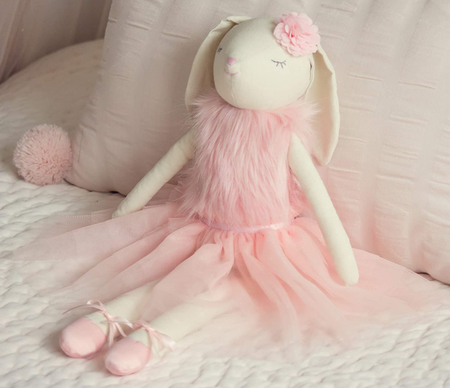Inspired by Jewel - Lilly The Bunny | Beautiful Cream Cotton Linen Plush Doll with Floppy Ears, Arms & Legs | Authentic Pink Ballerina Tutu, Slippers & Cuddly Fur Top | Soothing Hand Stitched Face