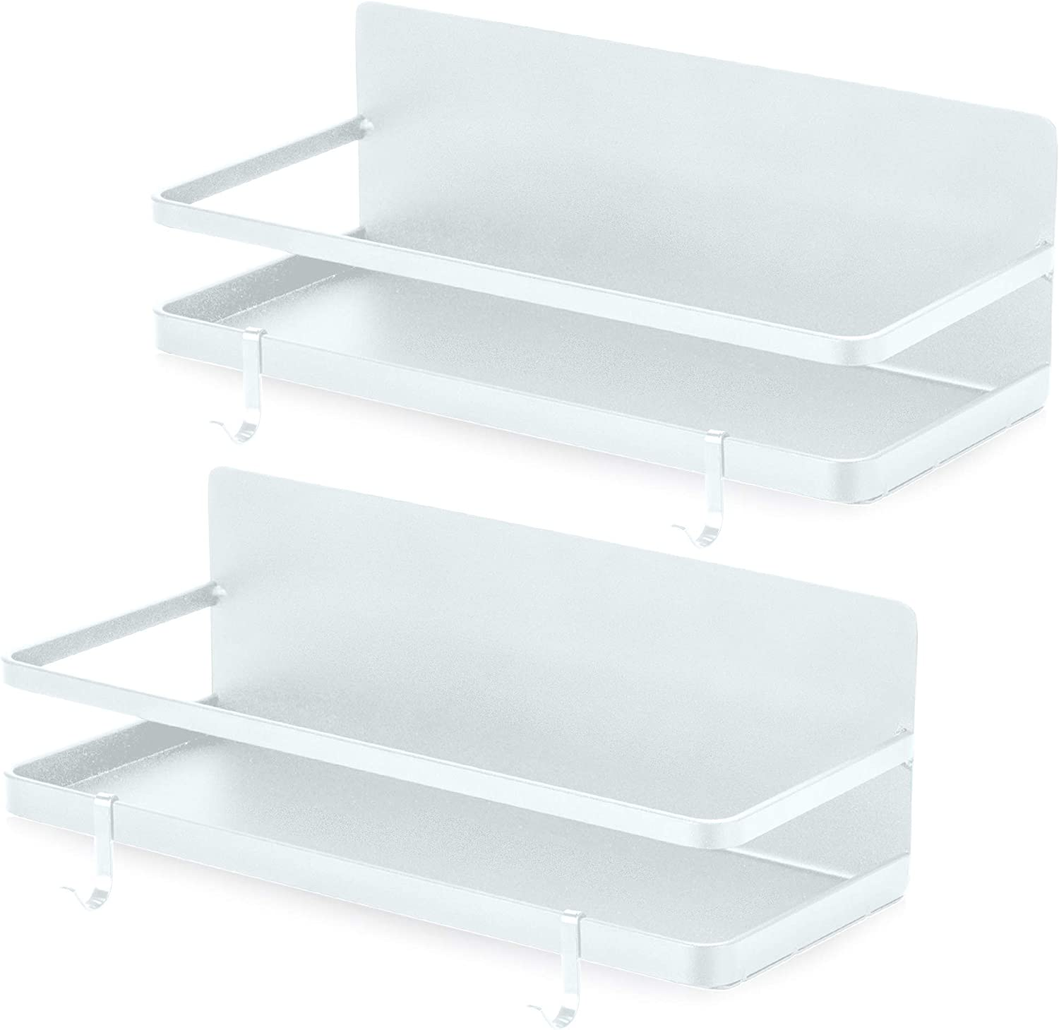 2 Pack - Magnetic Spice Rack, Fridge Organizer Shelf, Side Wall Refrigerator Storage for Spices, Utensils or Plates, Works as Towel Holder with Hooks, Organization for Home and Kitchen (White)
