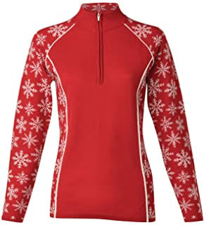 a4e0bada43c Krimson Klover Women s 1 4 Zip Downhill Edge Pullover Snowflake Sweater