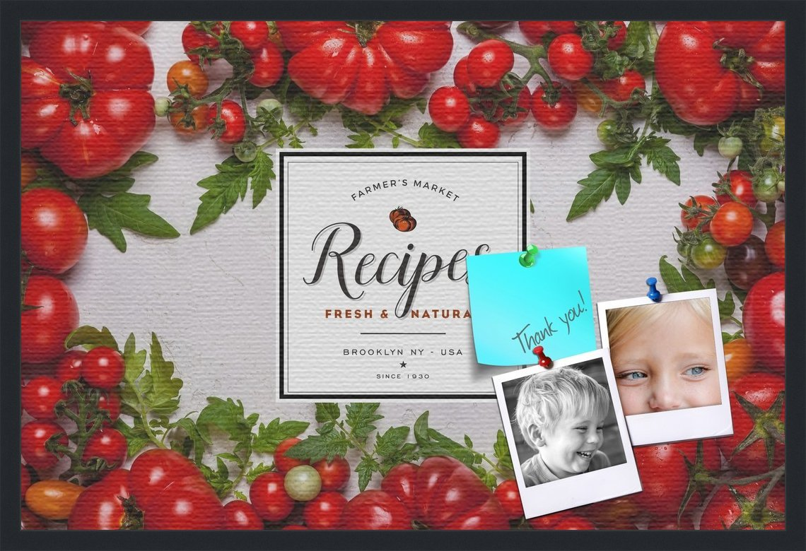 PinPix decorative pin cork bulletin board made from canvas, Recipe Board with Heirloom Tomatoes 36x24 Inches (Completed Size) and framed in Satin Black (PinPix-Group-36)