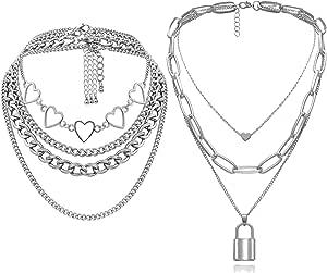 MGGFBLEY Egirl Jewelry Egirl Lock Chain Necklace Statement Lock Key Pendant Necklace Silver Set Eboy Long Multilayer Chains Punk Choker