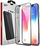 TOZO iPhone X フィルム iPhone X用 強化ガラス液晶保護フィルム フルカバー ラウンド対応 3D構造[ブラック]