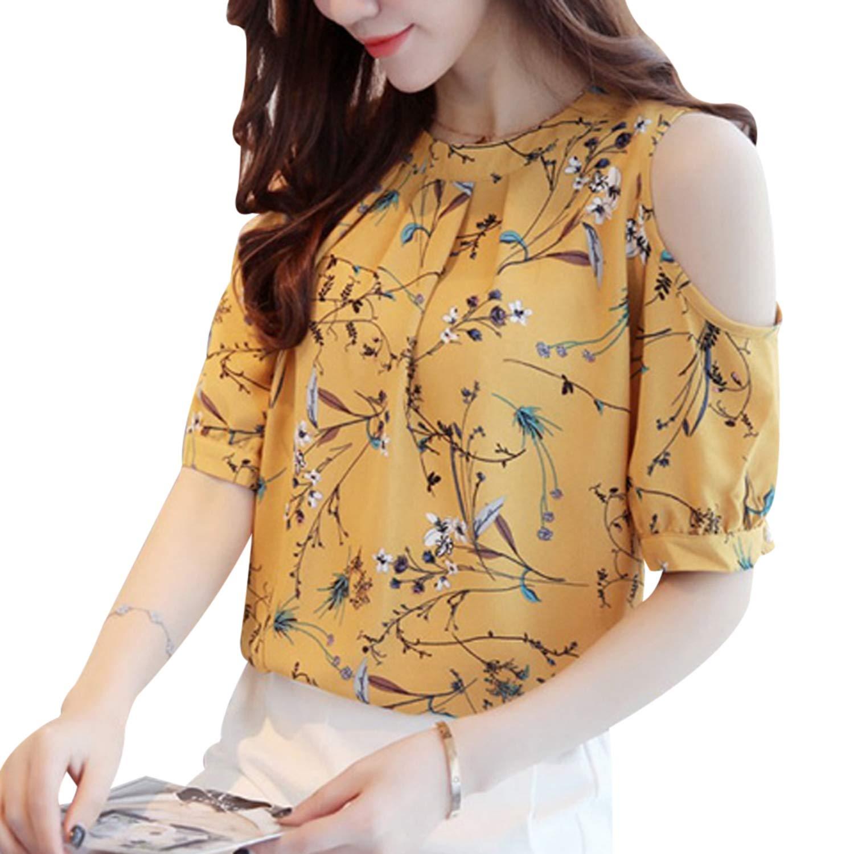 T T Store Cold Shoulder Chiffon Floral Printed Blouse Shirt Women Summer Tops Elegant Plus Size Ladies Blouses Blusas(Yellow,L)