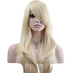 "YOPO 28"" Wig Long Big Wavy Hair Women Cosplay Party Costume Wig(Light Blonde)"