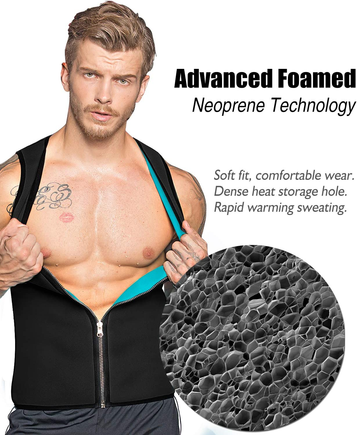 DoLoveY Men Sweat Sauna Vest Waist Trainer Hot Neoprene Corset Weight Loss Shaper Slimming Tank Top Workout Shirt