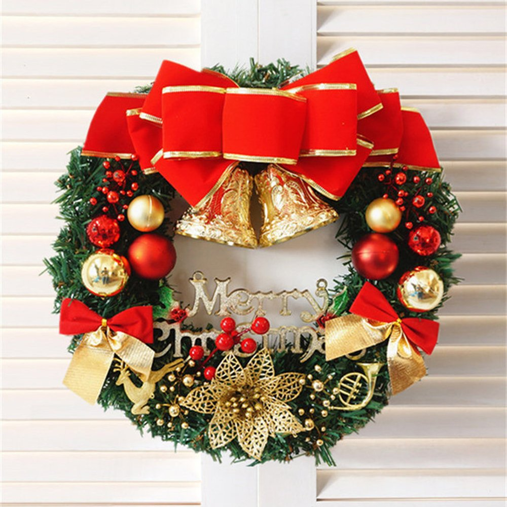 Fanng Merry Christmas Wreaths 14inch Handmade Garlands with Red Bowknot and Golden Bell for Indoor/Outdoor Door Wall Window Home Christmas Decor