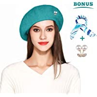beaf0ac1c2172 Jeicy Wool Beret Hat Solid Color French Artist Beret Skily Scarf Brooch
