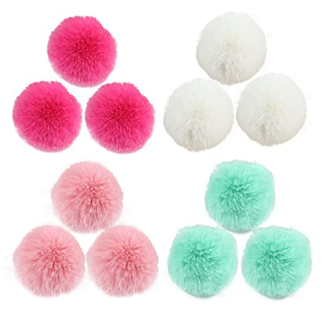 12pcs Colori Assortiti 5 Centimetri Fluffy Faux Pelliccia Di Coniglio  Pompom Ball Con Elastico Cordone Per 9b8c38230f66