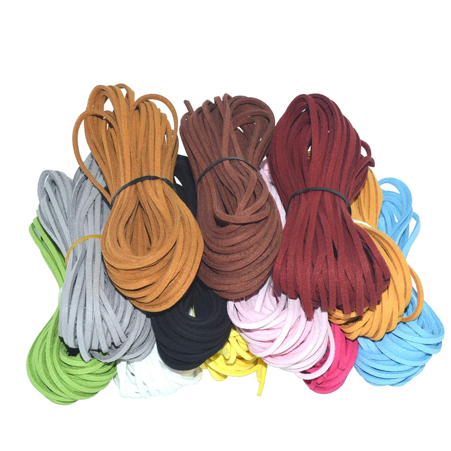 120 Yard 12 Color Suede Cord Lace Leather Cord, Doubletwo Beading Thread Jewelry Making Beading Craft Thread String- 3mm Width, Each Color 10pcs& 10 Yard, leathercord
