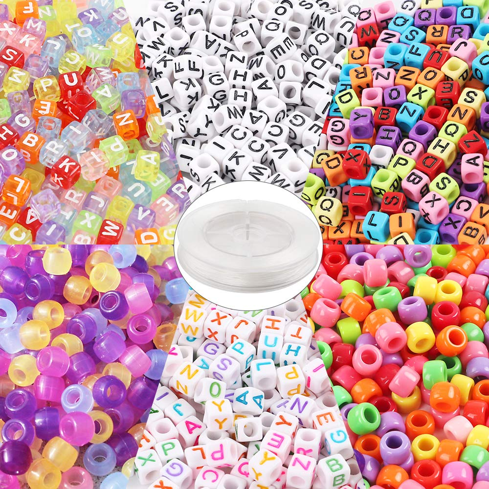 Quefe 1500pcs Acrylic Beads Containing 4 Types, Letter Beads, Large Hole Beads, UV Beads with 50 Meters Elastic String for Making Jewelry, Bracelets, etc. by QUEFE