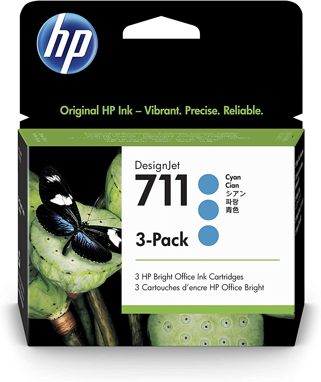 HP 711 Cyan 29-ml 3-Pack Genuine Ink Cartridges (CZ134A) for DesignJet T530, T525, T520, T130, T125, T120 & T100 Large Format Plotter Printers
