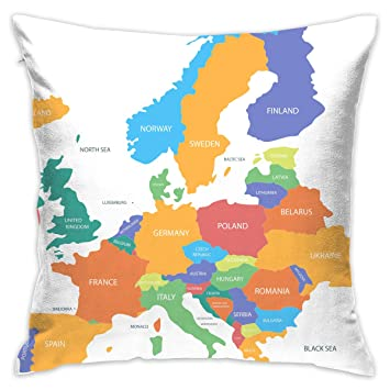 Amazon.com: Decorative Throw Pillow Cover Europe Map with ...