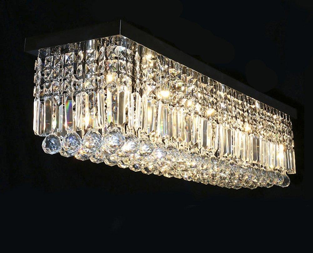 Siljoy rectangular raindrop crystal chandelier lighting modern siljoy rectangular raindrop crystal chandelier lighting modern ceiling lights flush mount fixture l315 x w10 x h10 amazon arubaitofo Gallery