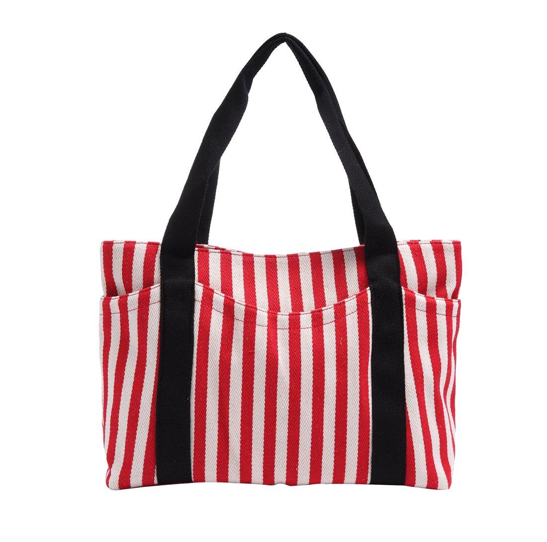 Canvas Tote Bag with Multiple Pocket/Zipper Closure Sholuder Bag/Travel Bag for Weekend/7 Pocket/Perfect Bag for Gift