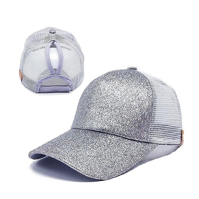 352db52a7f2c10 Ponytail High Bun Mesh Glitter Baseball Cap Hat with Adjustable Strap  (Silver Grey)
