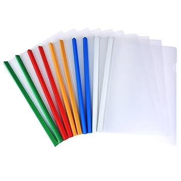 Mosie - Fundas para archivador de documentos (10 unidades, A4, 5 colores): Amazon.es: Oficina y papelería