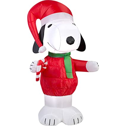 peanuts chirstmas snoopy with candy cane blowup inflatable lawn decoration - Snoopy Blow Up Christmas Decorations