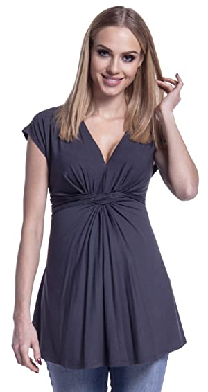 Happy Mama. Womens Maternity Top Empire Ruched Knot Detail. Cap Sleeves. 966p (Graphite, US 10/12, L)