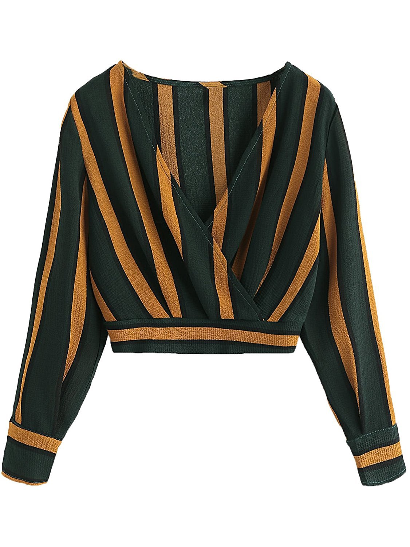 Verochic Women's V Neck Long Sleeve Striped Surplice Crop Top Blouse Multicolor S