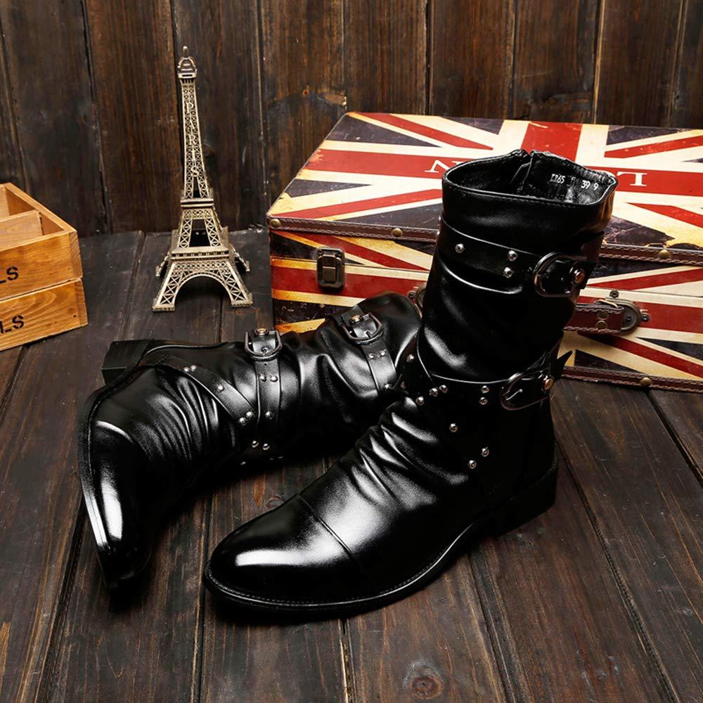 GBRALX Herren Rivet Rivet Rivet Mid Calf Stiefel Spitzschuh Wanderschuhe Seitlicher Reißverschluss Schnalle Stiefelette Punk Rock Kampfstiefel ee5e43