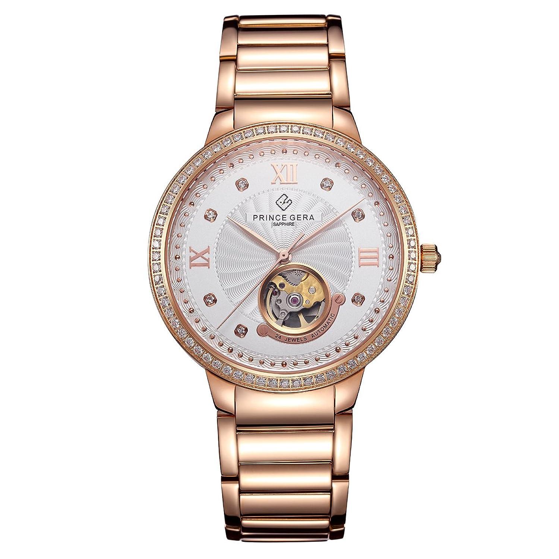 Prince Gera Paar Uhren Ultra DÜnn HIS und HERS Diamanten Rose Gold Remasuri Automatische fÜr MÄnner Frauen Geschenk