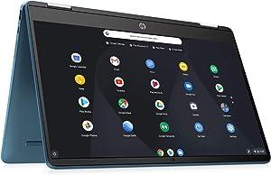2021 HP X360 Chromebook,14inch 2-in-1 Convertible Touchscreen, Intel Celeron N4020 Processor Up to 2.80GHz, 4GB Ram, 64GB SSD, Webcam, Chrome OS, SDTK 16GB USB Drive (Renewed) (64GB SSD+16GB, Blue)