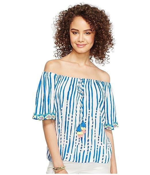 fd4c2ae7637dc Lilly Pulitzer Women s Sain Top Blue Crush Bay Stripe Engineered Shirt