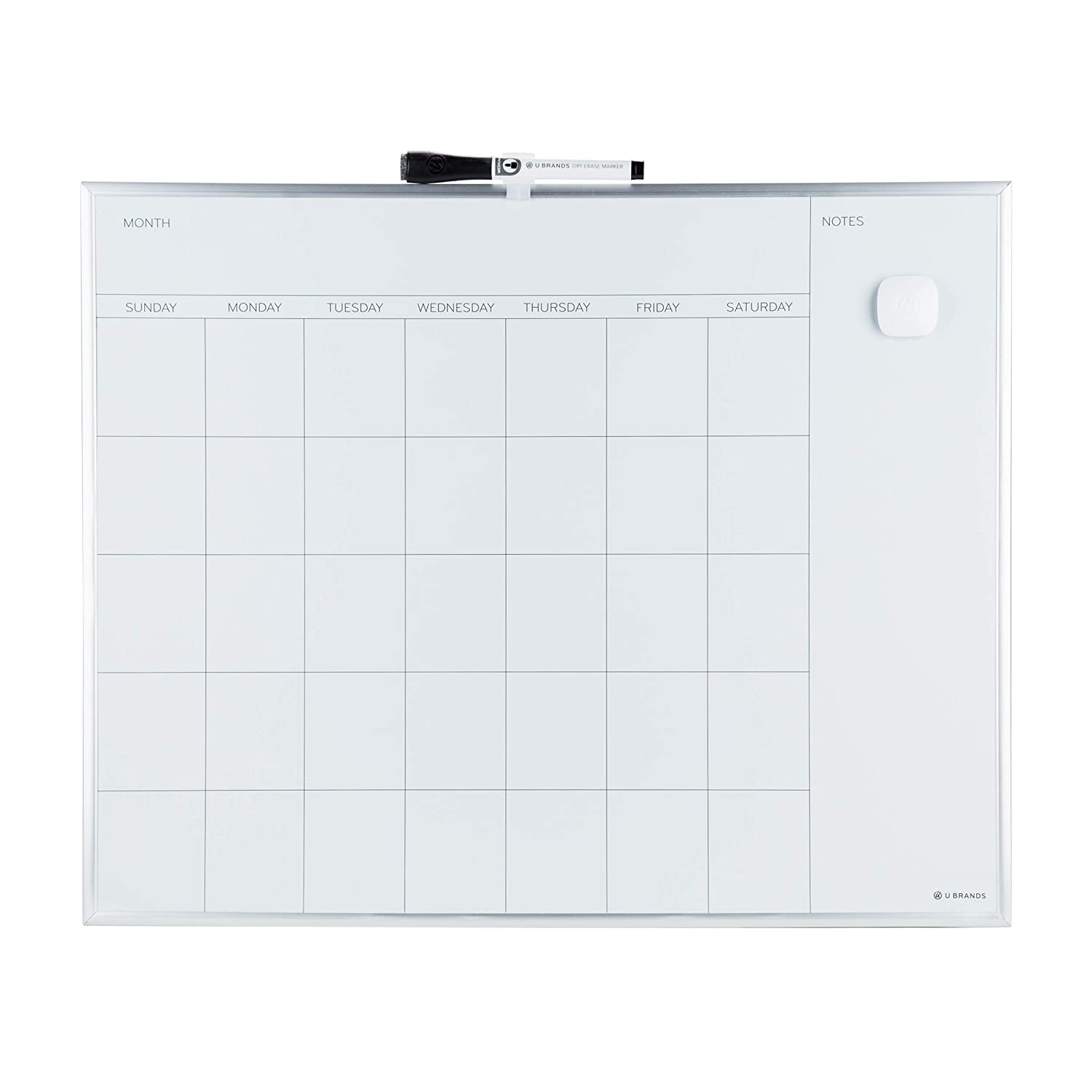 U Brands Magnetic Monthly Calendar Dry Erase Board, 20 x 16 Inches, Silver Aluminum Frame