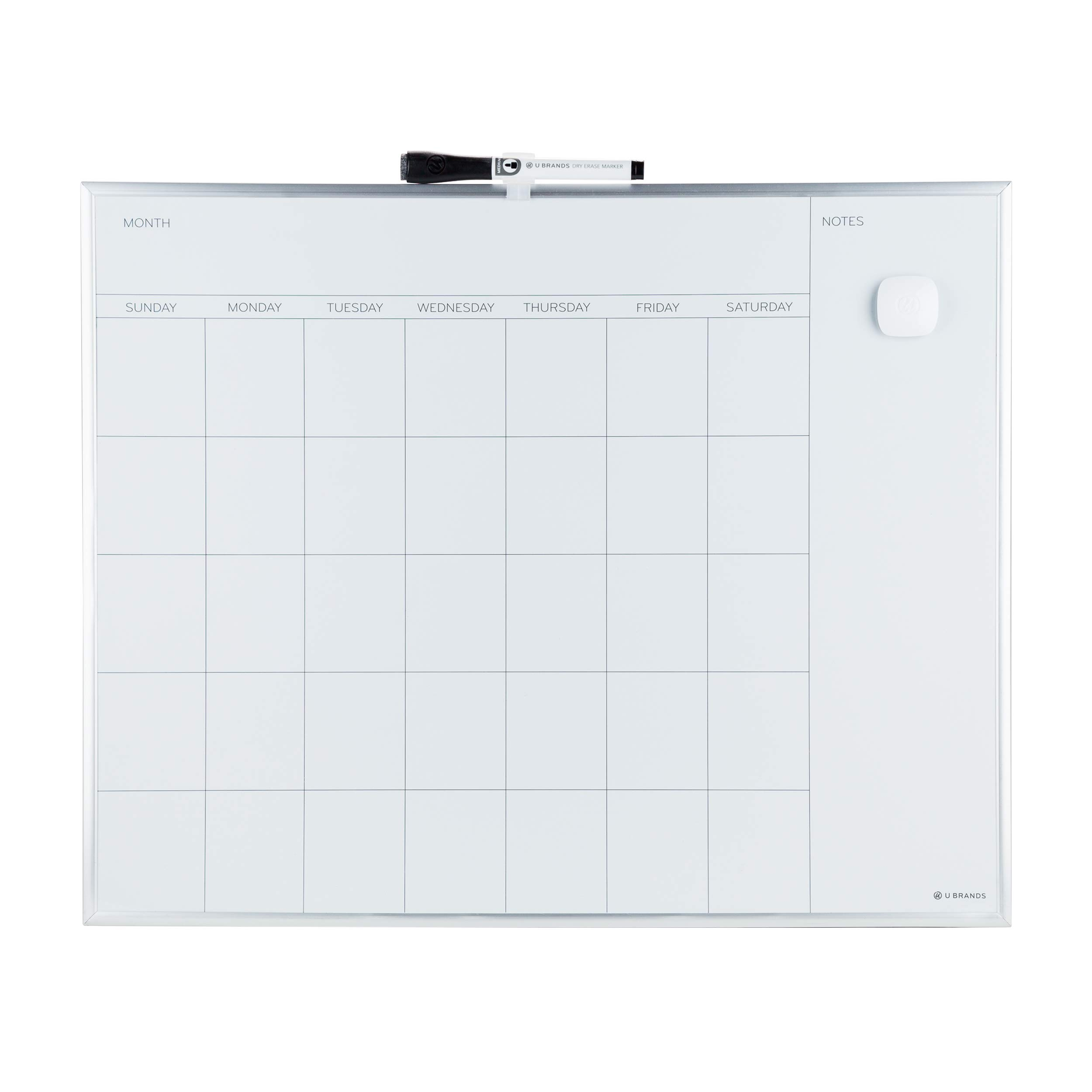 U Brands Magnetic Monthly Calendar Dry Erase Board, 20 x 16 Inches, Silver Aluminum Frame by U Brands (Image #1)