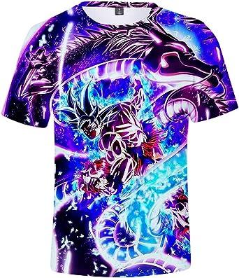 FLYCHEN T-Shirt Colorful Impreso en 3D Dragon Ball para Hombre Super Saiyan Cosplay Wu Camiseta Goku: Amazon.es: Ropa y accesorios