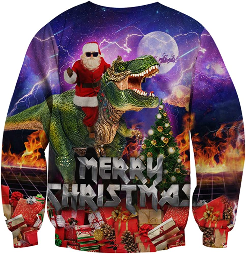 RAISEVERN Uomo Donna Funny Christmas Jumpers Sweatshirts Lungo Manica Unisex 3D Printed Retro Novelty Xmas Stampare Natale Maglione Cima S-3XL
