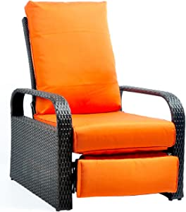 "Babylon Outdoor Recliner Wicker Patio Adjustable Recliner Chair with 5.11"" Cushions and Ottoman,Rust-Resistant Aluminum Frame,All-Weather Resin Rattan, Brown& Orange"