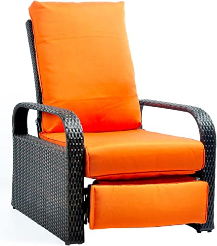 Outdoor Recliner Wicker Patio Adjustable Recliner Chair with 5.11 Cushions and Ottoman,Rust-Resistant Aluminum Frame,All-Weather Resin Rattan, Brown Orange