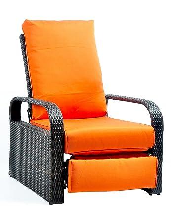 Outdoor Recliner Wicker Adjustable Chair, Rust Resistant Aluminum Frame,  With 5.11u0027u0027