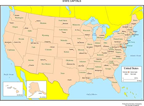 Amazon.com: Home Comforts Laminated Map - States Labeled Map ...