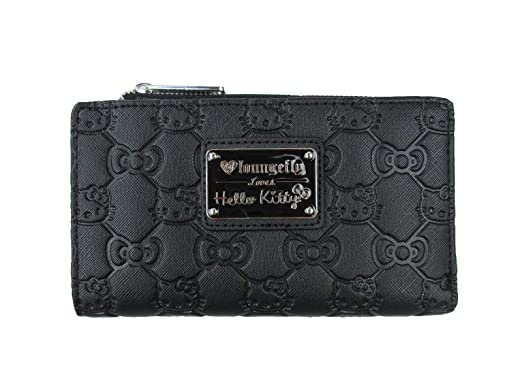 55c5847a092f5 Loungefly Hello Kitty Bow Quilted Bifold Wallet (Black, One Size) at ...