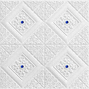 LKXHarleya 3D Foam White Decorative Wall Panels, Self Adhesive Brick Wall Stickers Wallpaper Ceiling Panel TV Wall Office Home Decor,Blue,7 Pack