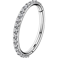 OUFER 16G 316L Surgical Steel Segment Nose Hoop Ring CZ Paved Segment Helix Rings Daith Earrings