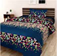 Pridhi 100% Cotton Bedsheets for Single Bed with 1 Pillow Cover, Soft 144 TC Printed Green Bedsheet