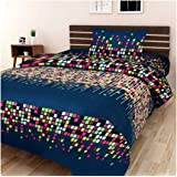 P PRIDHI 100% Cotton Bedsheets for Single Bed with 1 Pillow Cover, Soft 144 TC Printed Green Bedsheet