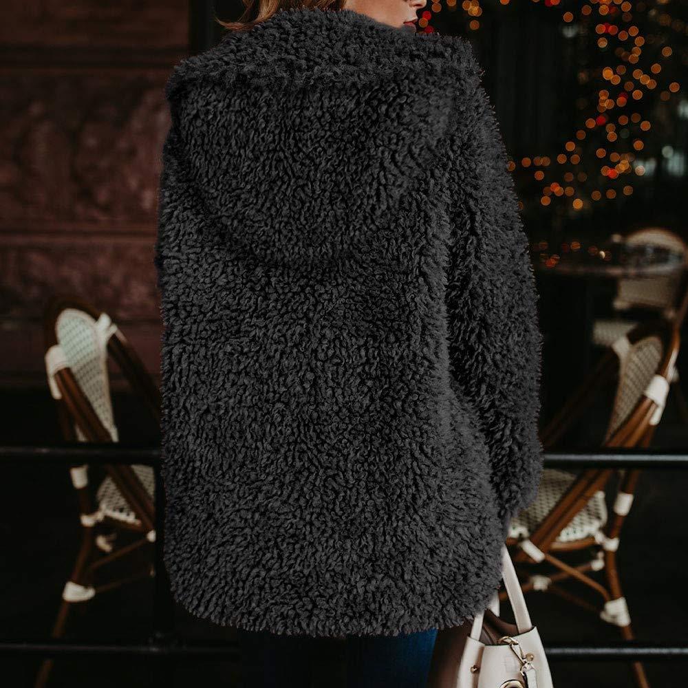Manteau Femme Hiver Doudoune Femme Longue Duffle Coat Fourrure Jacket Leather, Veste 2018 Mode Manches Longues ÉPaissir Doublé Peluche Parka RembourréE Noir