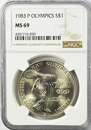 1996 D Olympics Rowing Commemorative Silver Dollar NGC MS69