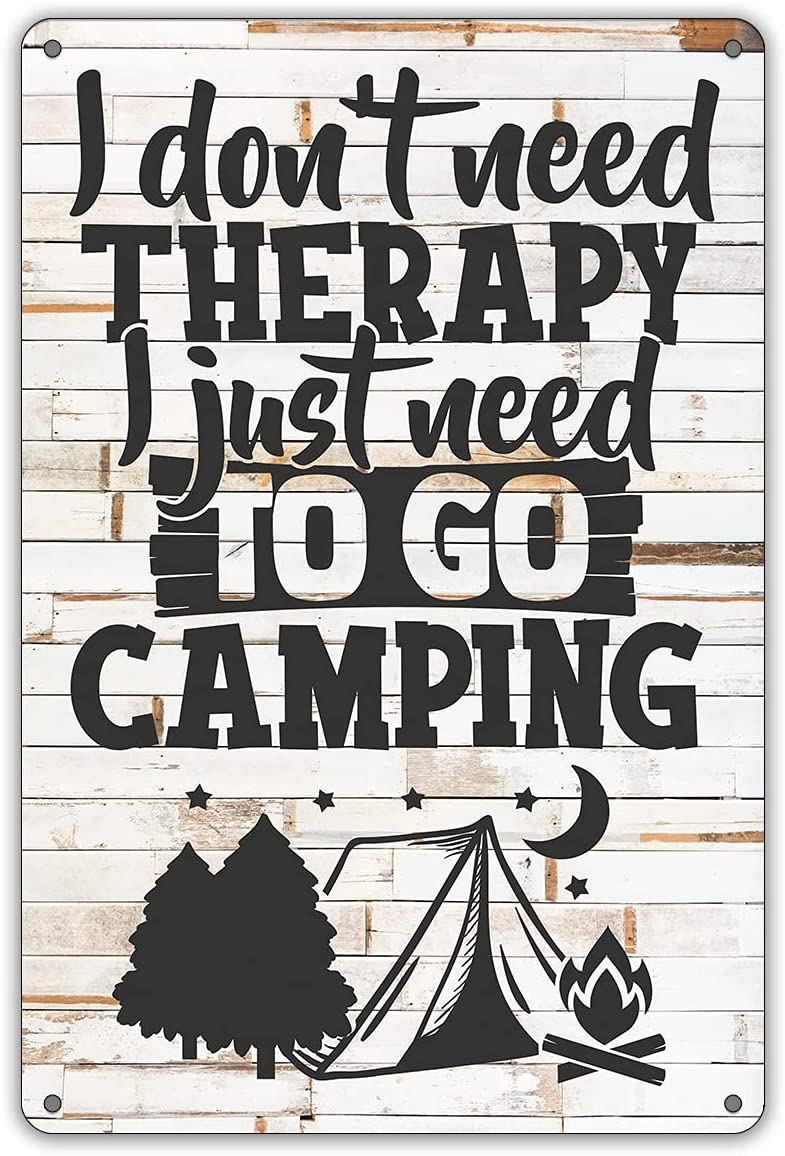 QIONGQI Funny Camping Quote Metal Tin Sign Wall Decor Farmhouse Rustic Camping Signs for Home Garage Men Cave Yard Decor Camper Gifts (Wooden Style)