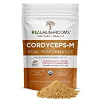Real Mushrooms Cordyceps Peak Performance Supplement for Energy, Stamina & Endurance | Non-GMO, Vegan, Organic Cordyceps Powder| 60 Servings