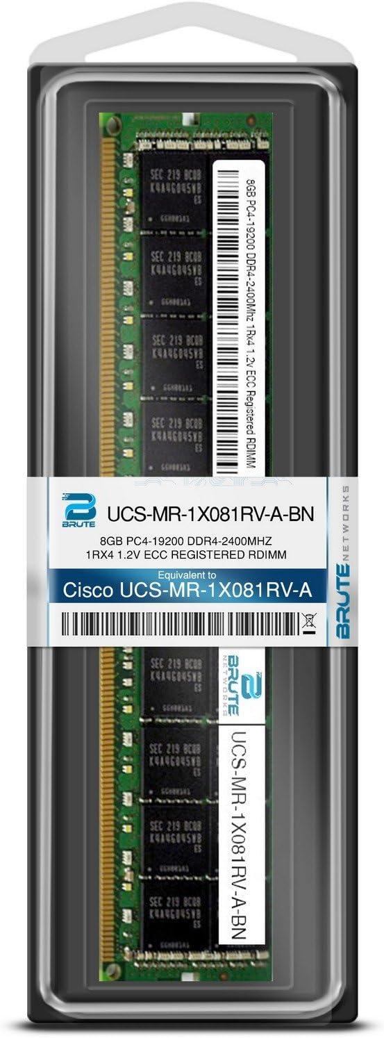 8GB PC4-19200 DDR4-2400Mhz 1Rx4 1.2v ECC Registered RDIMM Brute Networks UCS-MR-1X081RV-A-BN Equivalent to OEM PN # UCS-MR-1X081RV-A