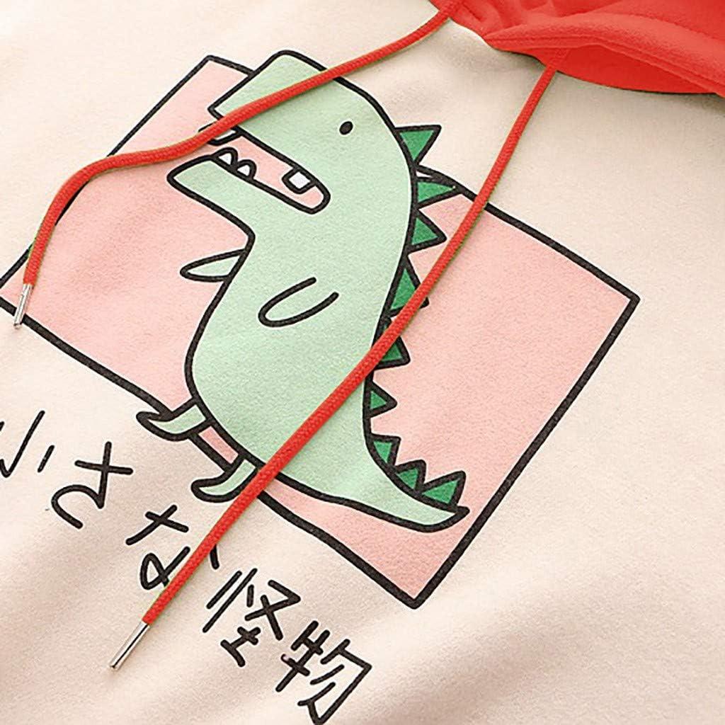 Cartoon Dinosauro Donna Felpa Felpa con Cappuccio A Maniche Lunghe Casual con Stampa A Lettere Ragazza Carina Colorblock Animale Bambini Jumper Cappuccio Ragazza Eleganti Donna Sweatshirt