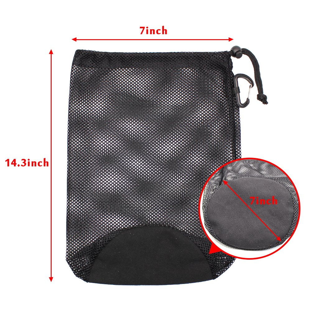 KisSealed 2Pcs Nylon Drawstring Mesh Sports Equipment Bag with Carabiner Clip for Swim,Climbing,Yoga,Gym by KisSealed (Image #4)