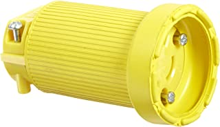 product image for KH Industries CL615DF Rubber/Polycarbonate Rewireable Flip Seal Locking Blade Connector, 2 Pole/3 Wire, 15 amps, 250V AC, Yellow